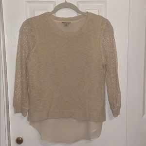 Lucky Brand Cream Sweater with Crochet Sleeved